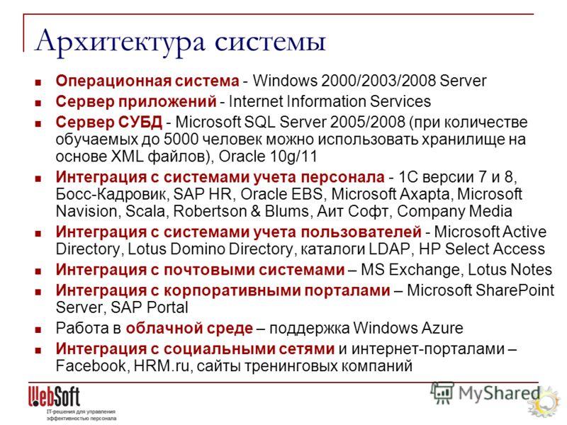 Операционная система - Windows 2000/2003/2008 Server Сервер приложений - Internet Information Services Сервер СУБД - Microsoft SQL Server 2005/2008 (при количестве обучаемых до 5000 человек можно использовать хранилище на основе XML файлов), Oracle 1