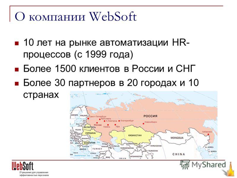 О компании WebSoft 10 лет на рынке автоматизации HR- процессов (с 1999 года) Более 1500 клиентов в России и СНГ Более 30 партнеров в 20 городах и 10 странах