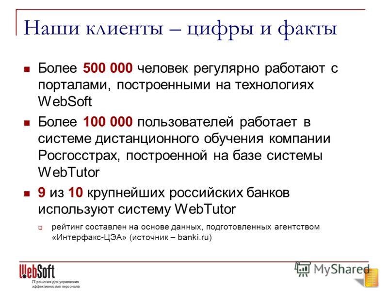 Наши клиенты – цифры и факты Более 500 000 человек регулярно работают с порталами, построенными на технологиях WebSoft Более 100 000 пользователей работает в системе дистанционного обучения компании Росгосстрах, построенной на базе системы WebTutor 9