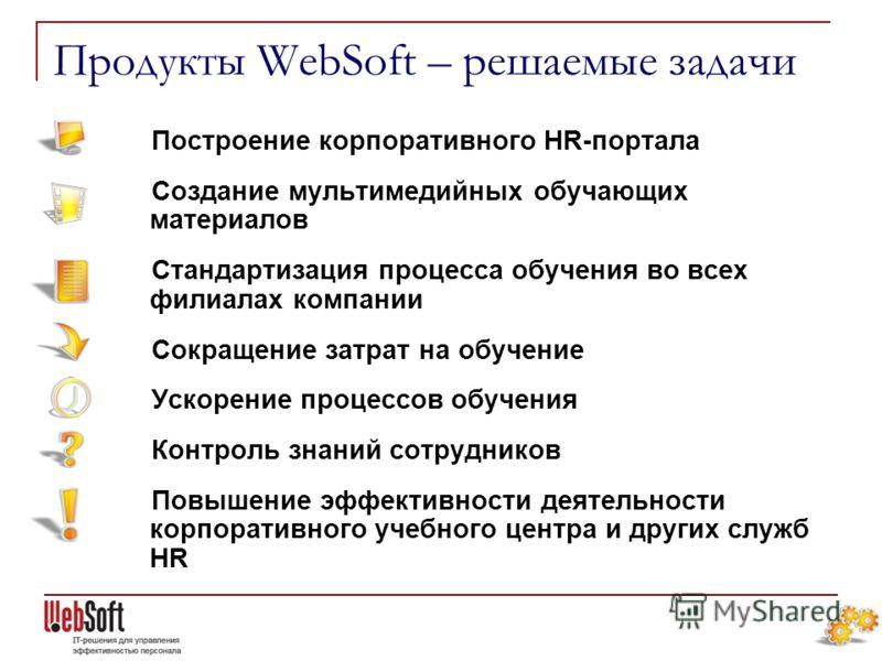 Продукты WebSoft – решаемые задачи Построение корпоративного HR-портала Создание мультимедийных обучающих материалов Стандартизация процесса обучения во всех филиалах компании Сокращение затрат на обучение Ускорение процессов обучения Контроль знаний