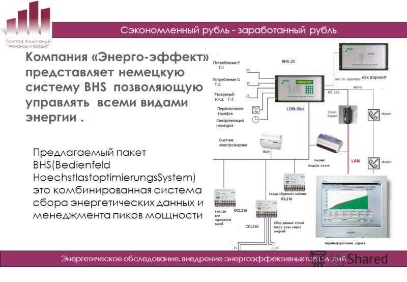 Сэкономленный рубль - заработанный рубль Энергетическое обследование, внедрение энергоэффективных технологий Компания «Энерго-эффект» представляет немецкую систему BHS позволяющую управлять всеми видами энергии. Предлагаемый пакет BHS(Bedienfeld Hoec