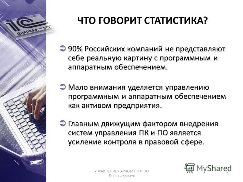 УПРАВЛЕНИЕ ПАРКОМ ПК И ПО © 1С «Формат» 2 ЧТО ГОВОРИТ СТАТИСТИКА? 90% Российских компаний не представляют себе реальную картину с программным и аппаратным обеспечением. 90% Российских компаний не представляют себе реальную картину с программным и апп