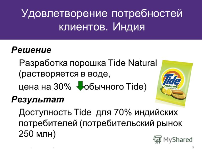 © Grant Thornton Frąckowiak. Wszelkie prawa zastrzeżone. 8 Удовлетворение потребностей клиентов. Индия Решение Разработка порошка Tide Natural (растворяется в воде, цена на 30% обычного Tide) Результат Доступность Tide для 70% индийских потребителей