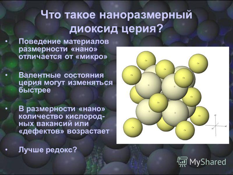 Что такое наноразмерный диоксид церия? Поведение материалов размерности «нано» отличается от «микро» Валентные состояния церия могут изменяться быстрее В размерности «нано» количество кислород- ных вакансий или «дефектов» возрастает Лучше редокс?