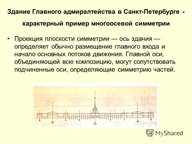 Здание Главного адмиралтейства в Санкт-Петербурге - характерный пример многоосевой симметрии Проекция плоскости симметрии ось здания определяет обычно размещение главного входа и начало основных потоков движения. Главной оси, объединяющей всю компози