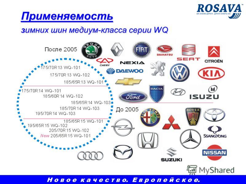 Применяемость зимних шин медиум-класса серии WQ Н о в о е к а ч е с т в о. Е в р о п е й с к о е.