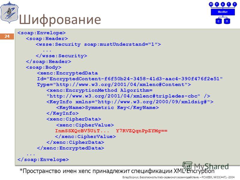 Шифрование 24...   Symmetric Key InmSSXQcBV5UiT... Y7RVZQqnPpZYMg==......   Symmetric Key InmSSXQcBV5UiT... Y7RVZQqnPpZYMg==... *Пространство имен xenc принадлежит спецификации XML Encryption Влад Боркус. Безопасность Web-сервисного взаимодействия. –
