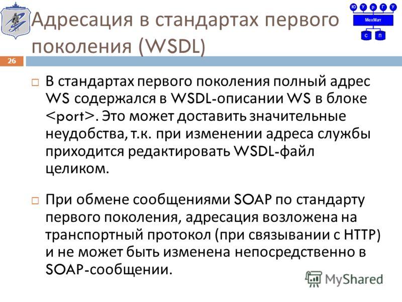 Адресация в стандартах первого поколения (WSDL) В стандартах первого поколения полный адрес WS содержался в WSDL- описании WS в блоке. Это может доставить значительные неудобства, т. к. при изменении адреса службы приходится редактировать WSDL- файл