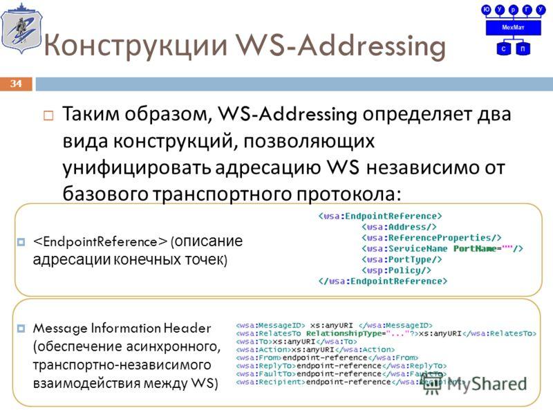 Конструкции WS-Addressing Таким образом, WS-Addressing определяет два вида конструкций, позволяющих унифицировать адресацию WS независимо от базового транспортного протокола : 34 ( описание адресации конечных точек ) Message Information Header (обесп
