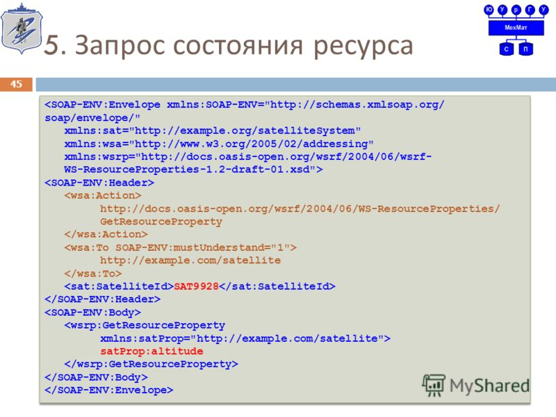 5. Запрос состояния ресурса 45  http://docs.oasis-open.org/wsrf/2004/06/WS-ResourceProperties/ GetResourceProperty http://example.com/satellite SAT9928  satProp:altitude  http://docs.oasis-open.org/wsrf/2004/06/WS-ResourceProperties/ GetResourcePrope