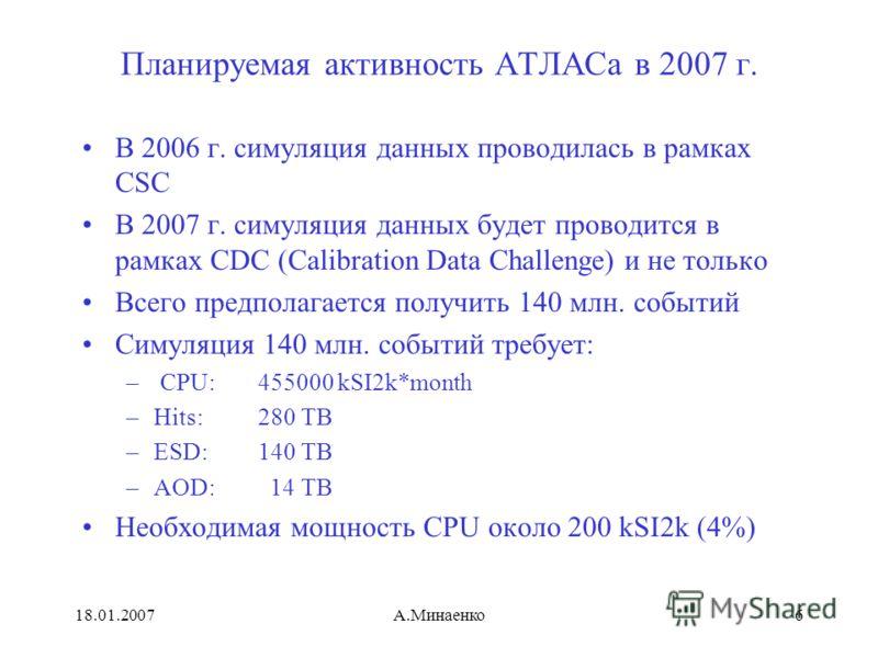 18.01.2007А.Минаенко6 Планируемая активность АТЛАСа в 2007 г. В 2006 г. симуляция данных проводилась в рамках CSC В 2007 г. симуляция данных будет проводится в рамках CDC (Calibration Data Challenge) и не только Всего предполагается получить 140 млн.
