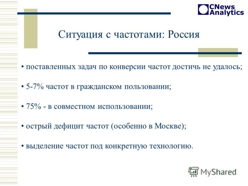 Ситуация с частотами: Россия поставленных задач по конверсии частот достичь не удалось; 5-7% частот в гражданском пользовании; 75% - в совместном использовании; острый дефицит частот (особенно в Москве); выделение частот под конкретную технологию.