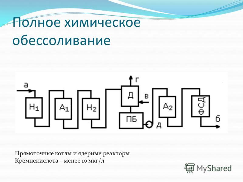 Полное химическое обессоливание Прямоточные котлы и ядерные реакторы Кремнекислота – менее 10 мкг/л