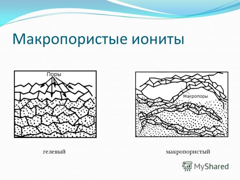 Макропористые иониты гелевыймакропористый