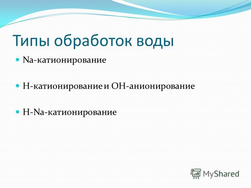 Типы обработок воды Na-катионирование H-катионирование и OH-анионирование H-Na-катионирование