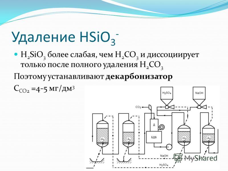 Удаление HSiO 3 - H 2 SiO 3 более слабая, чем H 2 CO 3 и диссоциирует только после полного удаления H 2 CO 3 Поэтому устанавливают декарбонизатор C CO2 =4-5 мг/дм 3