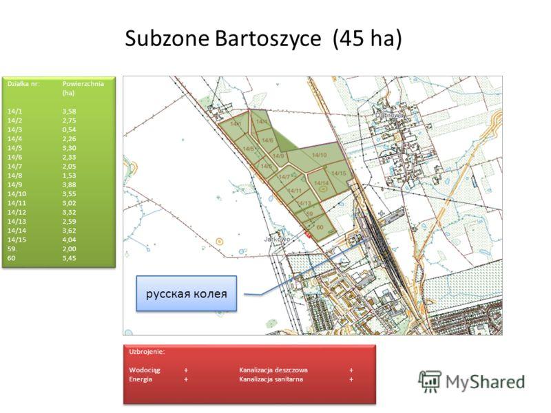 Subzone Bartoszyce (45 ha) Działka nr:Powierzchnia (ha) 14/1 3,58 14/2 2,75 14/3 0,54 14/42,26 14/53,30 14/62,33 14/7 2,05 14/8 1,53 14/9 3,88 14/103,55 14/113,02 14/123,32 14/13 2,59 14/143,62 14/154,04 59.2,00 603,45 Działka nr:Powierzchnia (ha) 14