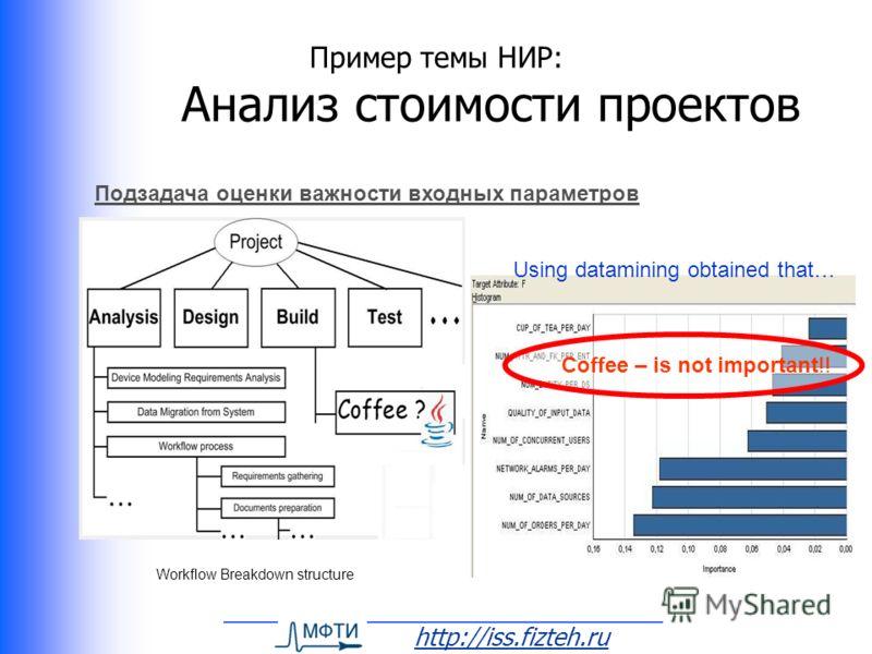 http://iss.fizteh.ru Пример темы НИР: Анализ стоимости проектов Workflow Breakdown structure Using datamining obtained that… Подзадача оценки важности входных параметров Coffee – is not important!!