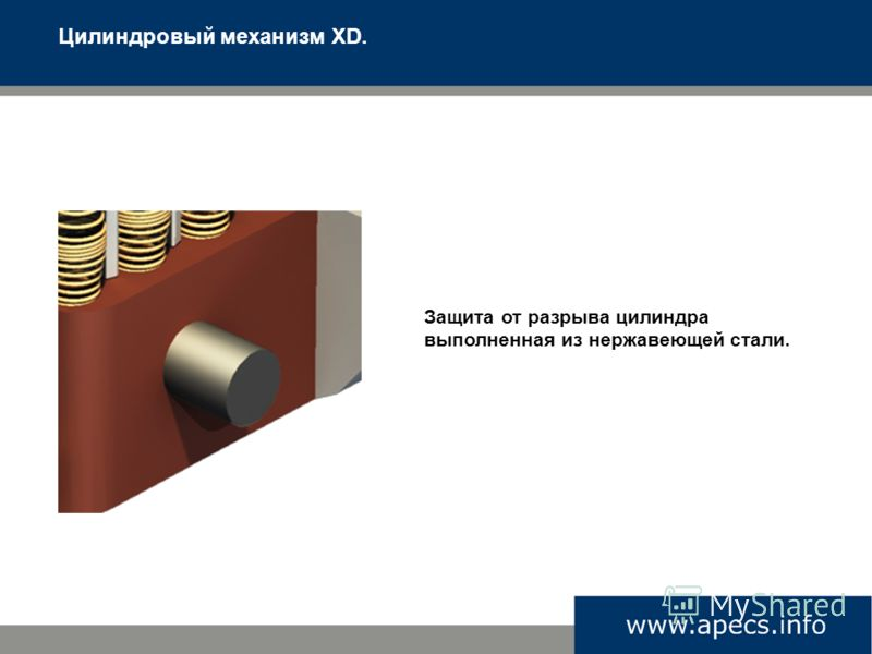 Цилиндровый механизм XD. Защита от разрыва цилиндра выполненная из нержавеющей стали.