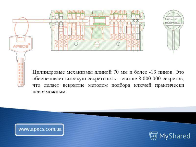 Цилиндровые механизмы длиной 70 мм и более -13 пинов. Это обеспечивает высокую секретность – свыше 8 000 000 секретов, что делает вскрытие методом подбора ключей практически невозможным www.apecs.com.ua