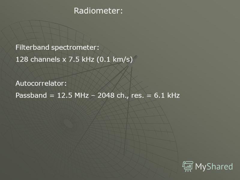 Radiometer: Filterband spectrometer: 128 channels x 7.5 kHz (0.1 km/s) Autocorrelator: Passband = 12.5 MHz – 2048 ch., res. = 6.1 kHz