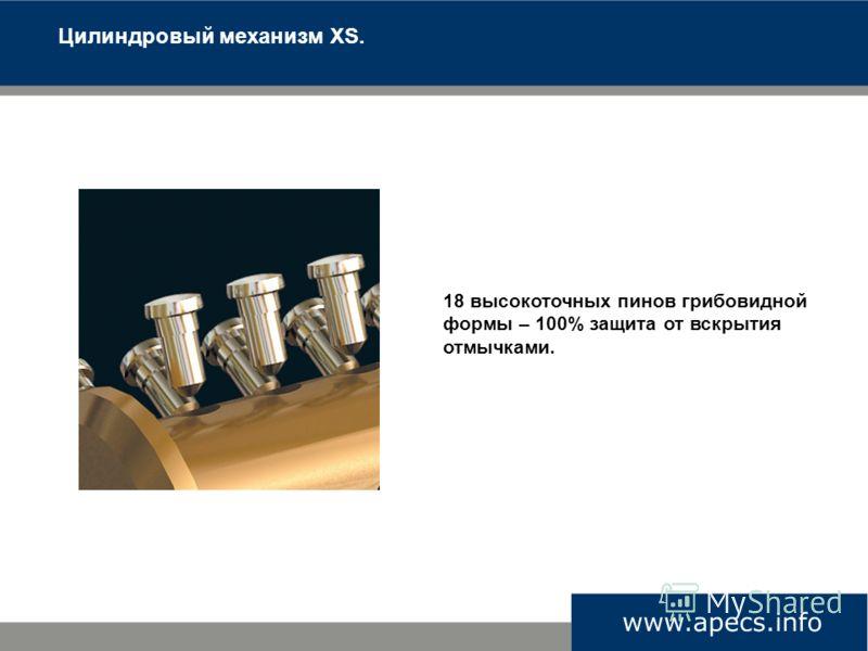 Цилиндровый механизм XS. 18 высокоточных пинов грибовидной формы – 100% защита от вскрытия отмычками.