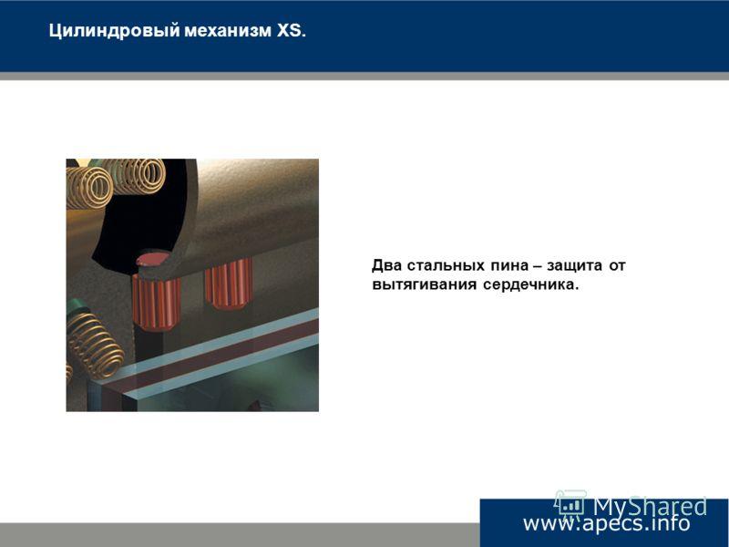 Цилиндровый механизм XS. Два стальных пина – защита от вытягивания сердечника.