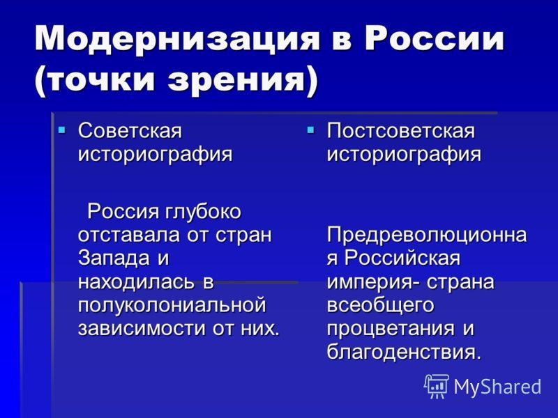 Модернизация в России (точки зрения) Советская историография Советская историография Россия глубоко отставала от стран Запада и находилась в полуколониальной зависимости от них. Россия глубоко отставала от стран Запада и находилась в полуколониальной