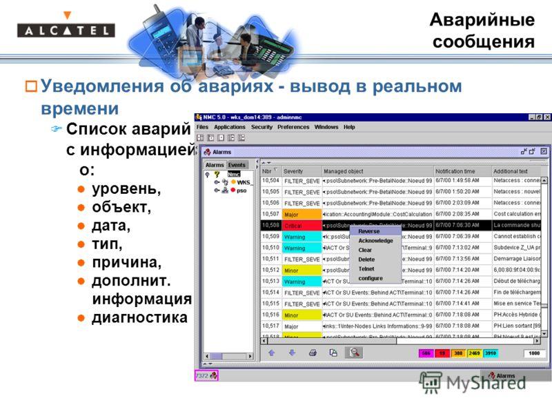 Уведомления об авариях - вывод в реальном времени Список аварий с информацией о: уровень, объект, дата, тип, причина, дополнит. информация диагностика Аварийные сообщения
