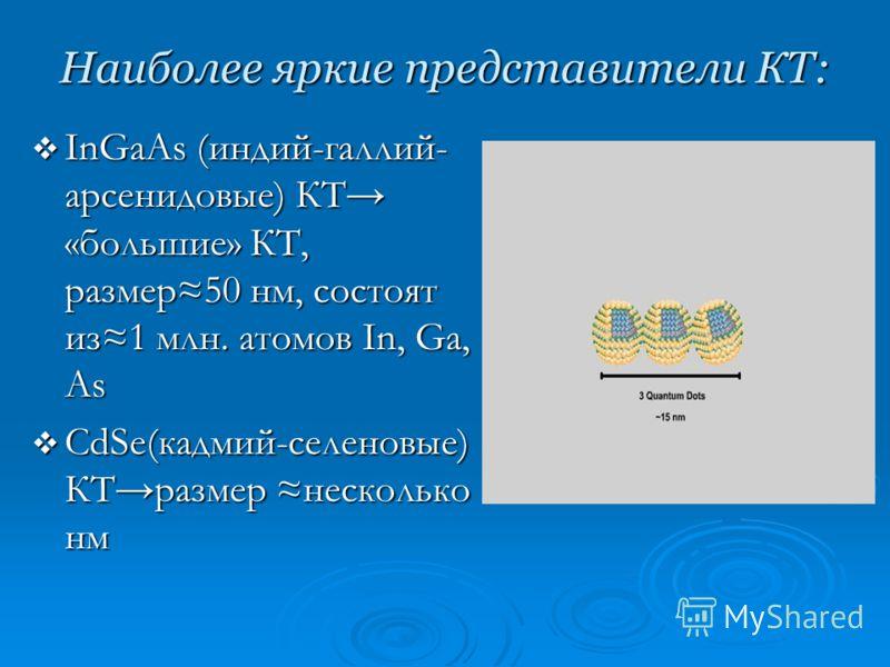 Наиболее яркие представители КТ: InGaAs (индий-галлий- арсенидовые) КТ «большие» КТ, размер50 нм, состоят из1 млн. атомов In, Ga, As InGaAs (индий-галлий- арсенидовые) КТ «большие» КТ, размер50 нм, состоят из1 млн. атомов In, Ga, As CdSe(кадмий-селен