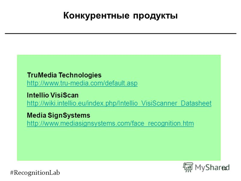 Конкурентные продукты 14 TruMedia Technologies http://www.tru-media.com/default.asp Intellio VisiScan http://wiki.intellio.eu/index.php/Intellio_VisiScanner_Datasheet http://wiki.intellio.eu/index.php/Intellio_VisiScanner_Datasheet Media SignSystems