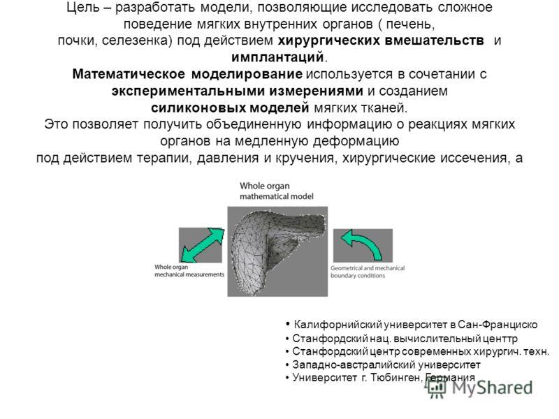 Цель – разработать модели, позволяющие исследовать сложное поведение мягких внутренних органов ( печень, почки, селезенка) под действием хирургических вмешательств и имплантаций. Математическое моделирование используется в сочетании с экспериментальн
