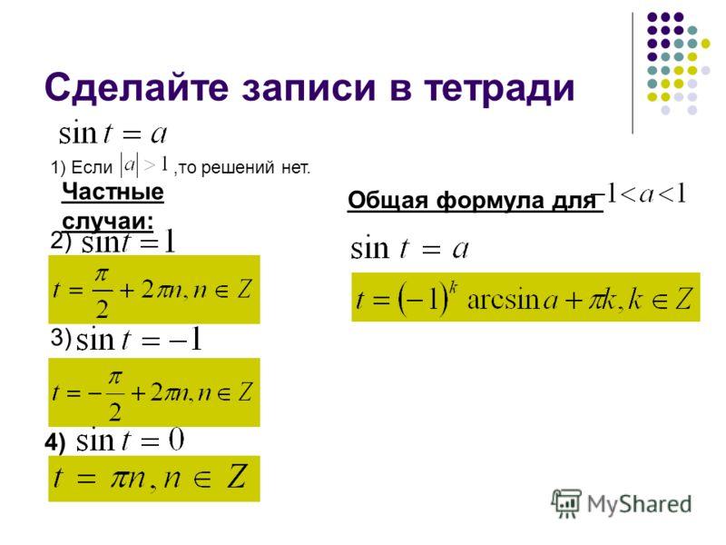 Сделайте записи в тетради 1) Если,то решений нет. 2) Частные случаи: 3) 4) Общая формула для