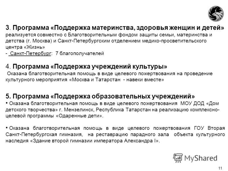 10 Количественные показатели 1. Программа «Талантливая молодежь России» - Санкт-Петербург и Ленинградская область: с январь по февраль 2010 года 141 человек с марта по август 2010 года 160 человек с сентября по декабрь 2010 года 155 человек - Республ