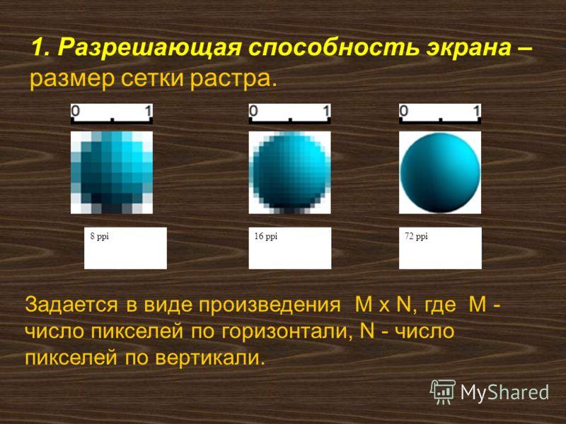 1. Разрешающая способность экрана – размер сетки растра. Задается в виде произведения M x N, где M - число пикселей по горизонтали, N - число пикселей по вертикали. 8 ppi16 ppi72 ppi