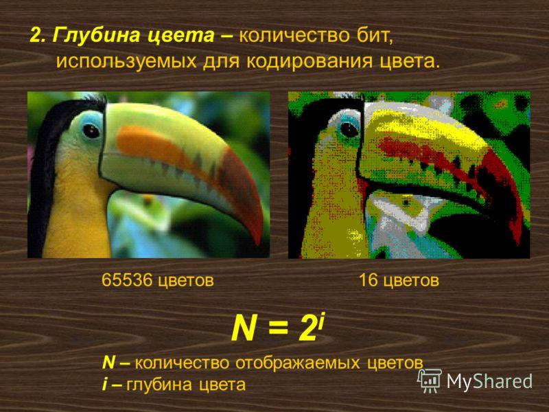 2. Глубина цвета – количество бит, используемых для кодирования цвета. N = 2 i N – количество отображаемых цветов i – глубина цвета 65536 цветов16 цветов