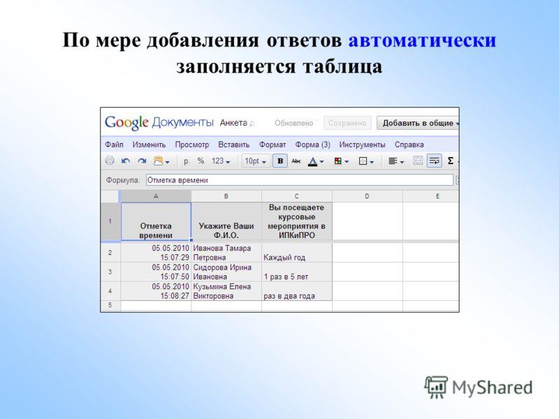 По мере добавления ответов автоматически заполняется таблица
