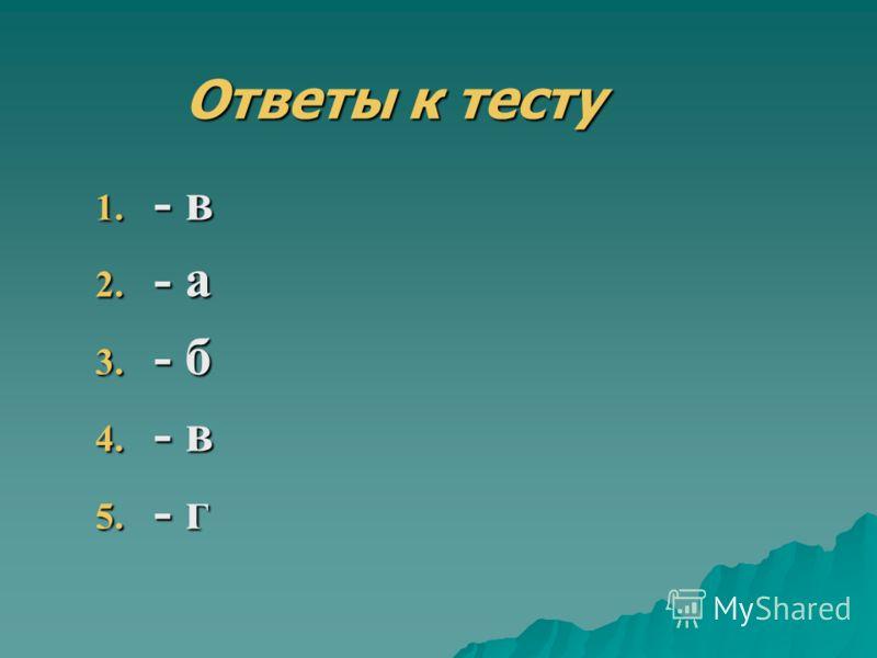 1. - в 2. - а 3. - б 4. - в 5. - г Ответы к тесту