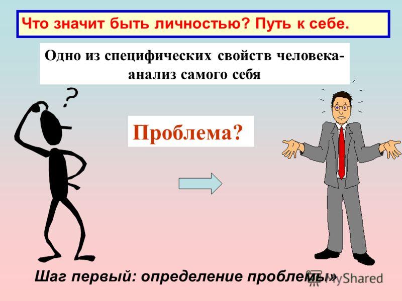 Одно из специфических свойств человека- анализ самого себя Проблема? Шаг первый: определение проблемы»