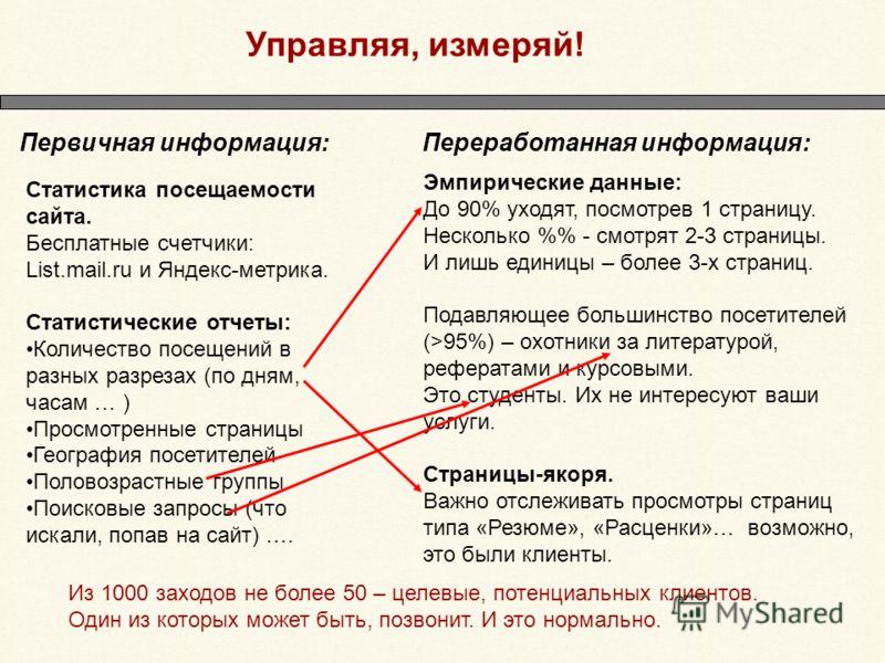 Управляя, измеряй! Статистика посещаемости сайта. Бесплатные счетчики: List.mail.ru и Яндекс-метрика. Статистические отчеты: Количество посещений в разных разрезах (по дням, часам … ) Просмотренные страницы География посетителей Половозрастные группы