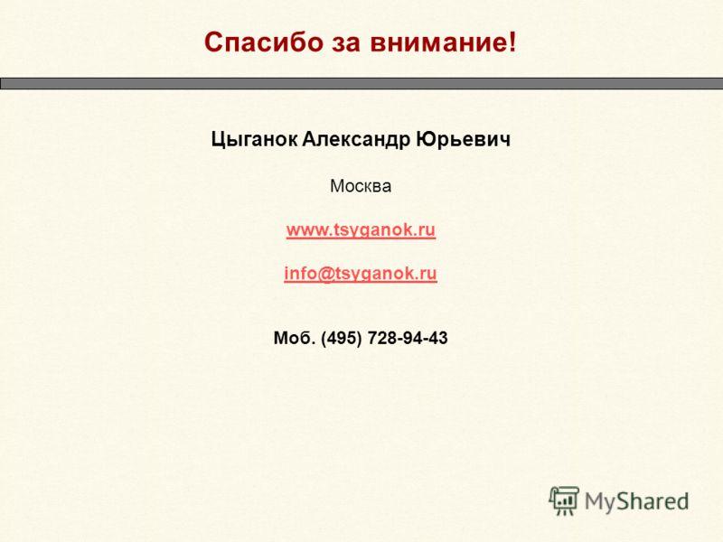 Спасибо за внимание! Цыганок Александр Юрьевич Москва www.tsyganok.ru info@tsyganok.ru Моб. (495) 728-94-43