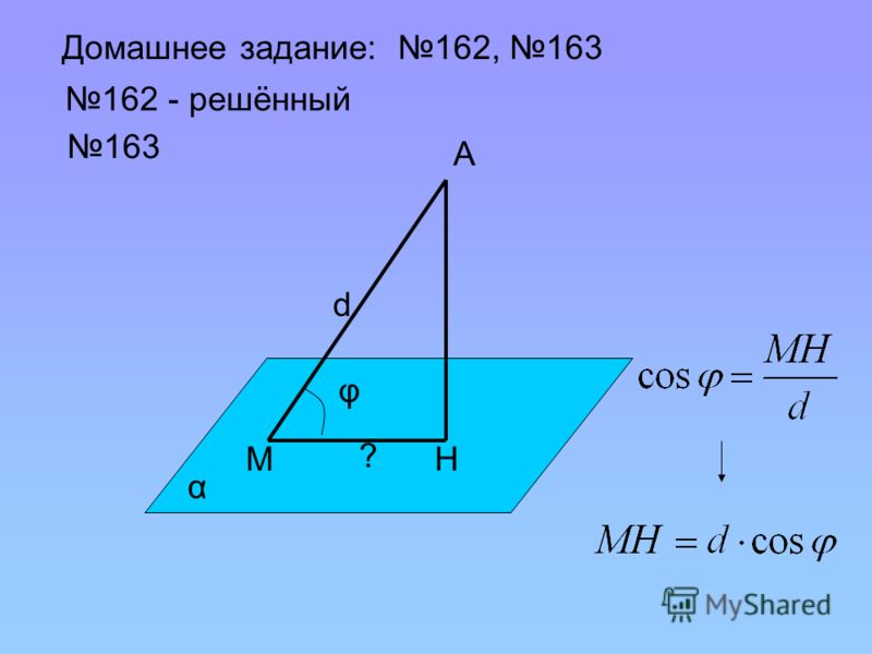 Домашнее задание: 162, 163 162 - решённый 163 α φ А МН d ?