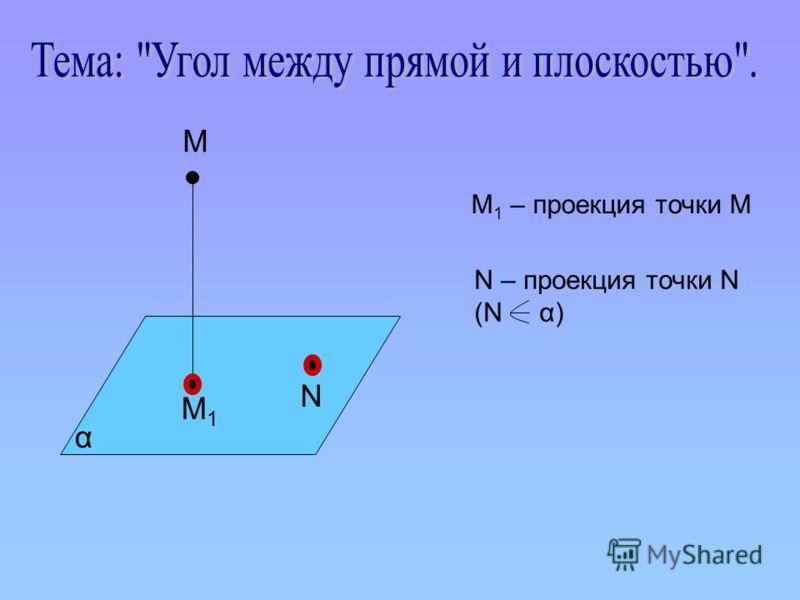 М М1М1 N α М 1 – проекция точки М N – проекция точки N (N α)