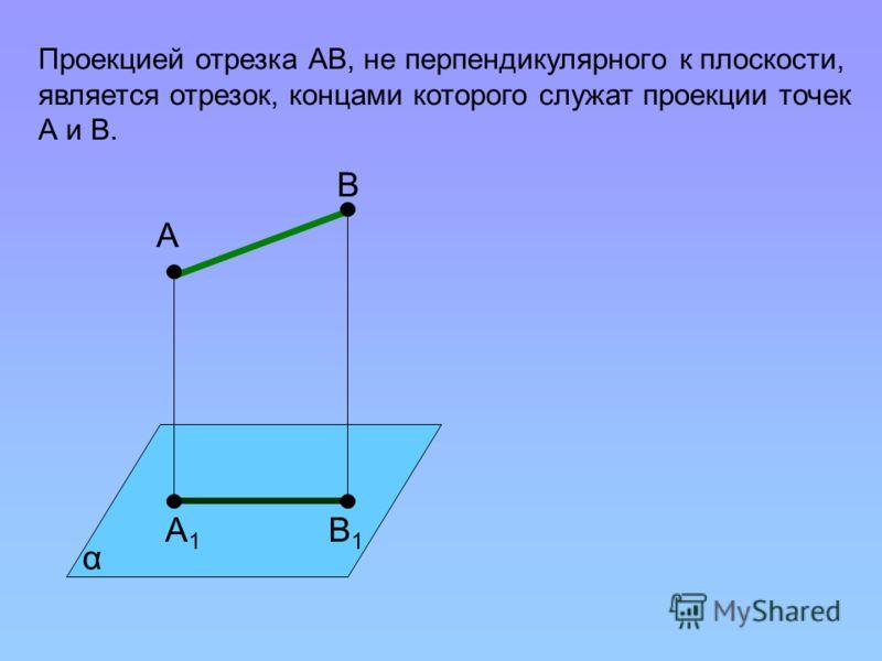 Проекцией отрезка АВ, не перпендикулярного к плоскости, является отрезок, концами которого служат проекции точек А и В. В1В1 А1А1 α А В