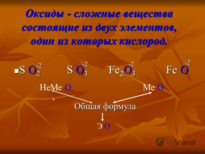 Оксиды - сложные вещества состоящие из двух элементов, один из которых кислород. S O 2 S O 3 Fe 2 O 3 Fe O S O 2 S O 3 Fe 2 O 3 Fe O -2 -2-2 -2 НеМе О Ме О Общая формула Э О