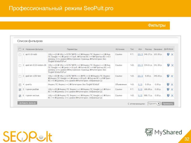 Профессиональный режим SeoPult.pro 32 Фильтры
