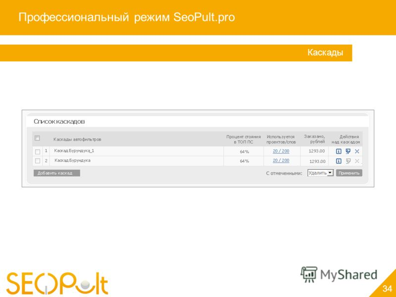 Профессиональный режим SeoPult.pro 34 Каскады