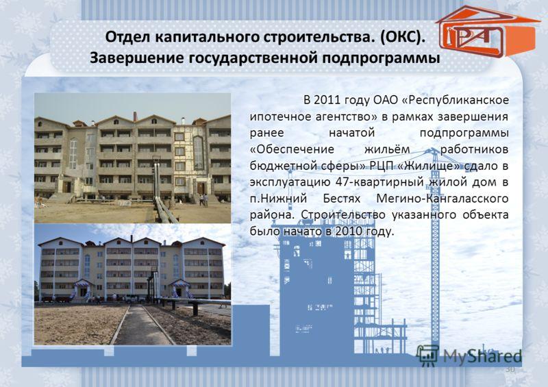 Отдел капитального строительства. (ОКС). Завершение государственной подпрограммы 30