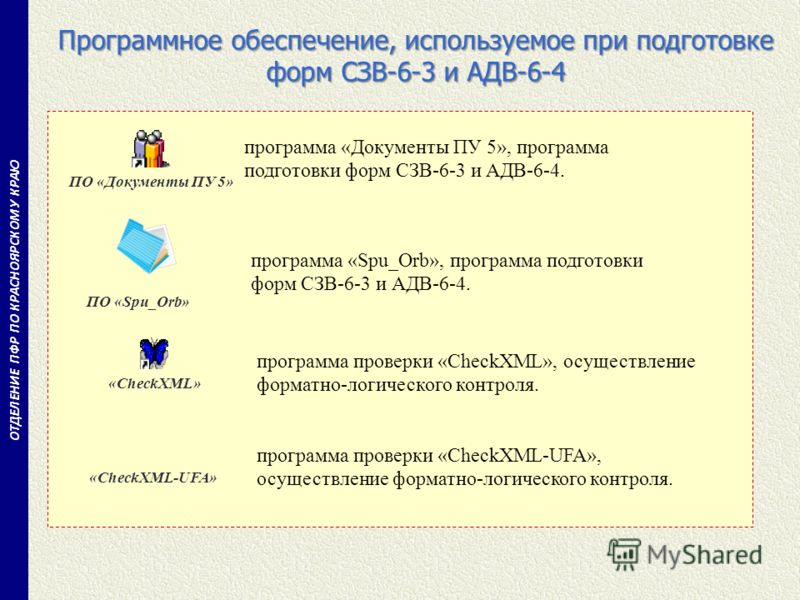 Программное обеспечение, используемое при подготовке форм СЗВ-6-3 и АДВ-6-4 ОТДЕЛЕНИЕ ПФР ПО КРАСНОЯРСКОМУ КРАЮ программа «Документы ПУ 5», программа подготовки форм СЗВ-6-3 и АДВ-6-4. программа «Spu_Orb», программа подготовки форм СЗВ-6-3 и АДВ-6-4.