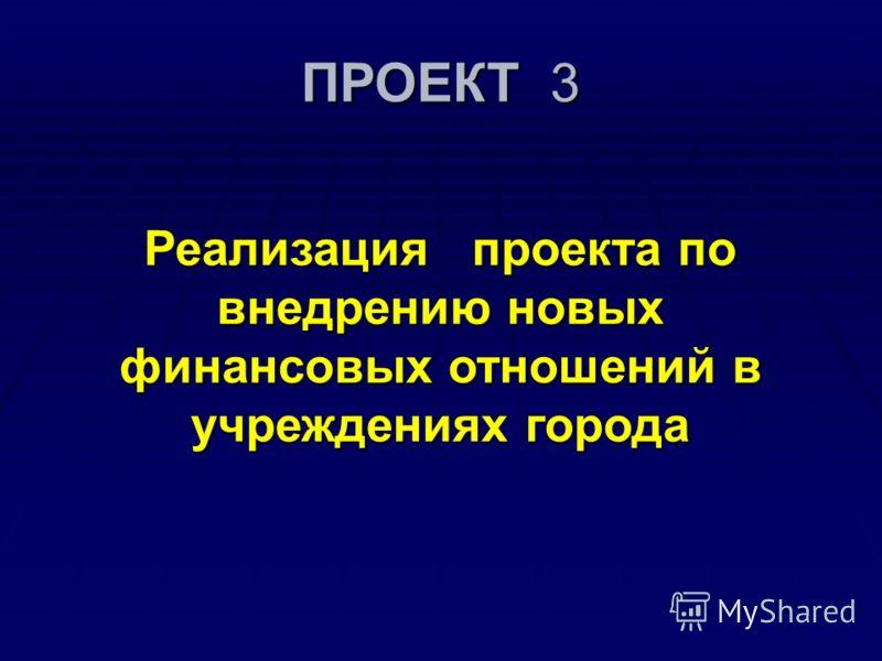 ПРОЕКТ 3 Реализация проекта по внедрению новых финансовых отношений в учреждениях города